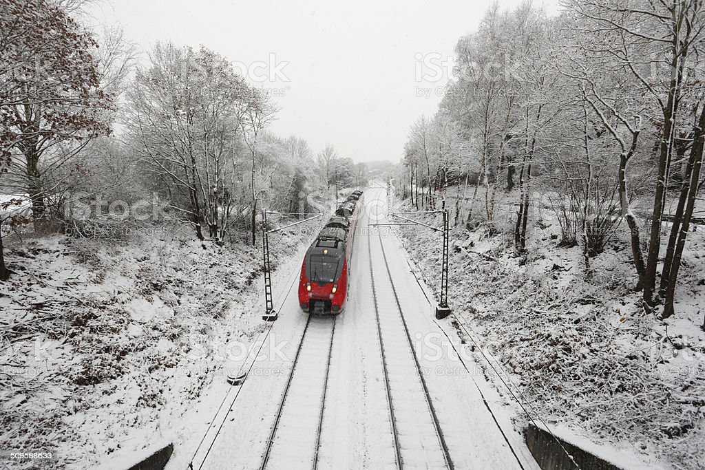 Train in winter landscape stock photo