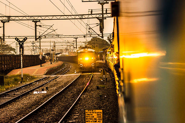 Train Incoming Train Incoming, Indian Platform electric train stock pictures, royalty-free photos & images
