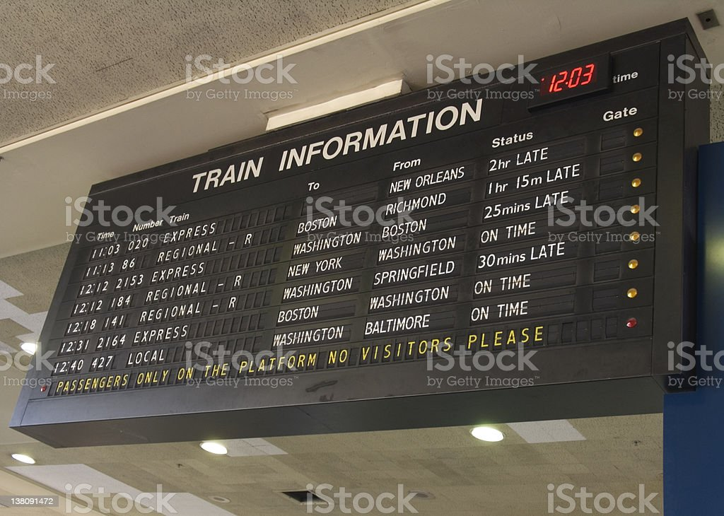 Train Information stock photo