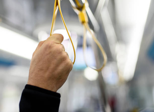 train interior - hand grip stock photos and pictures