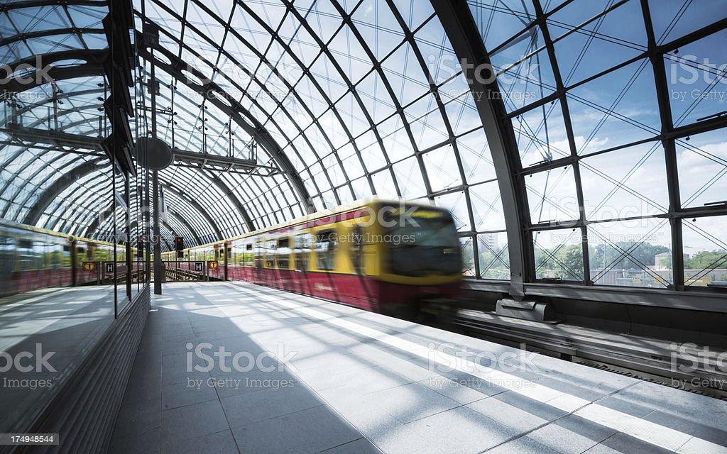 Train is leaving in Berlin stock photo