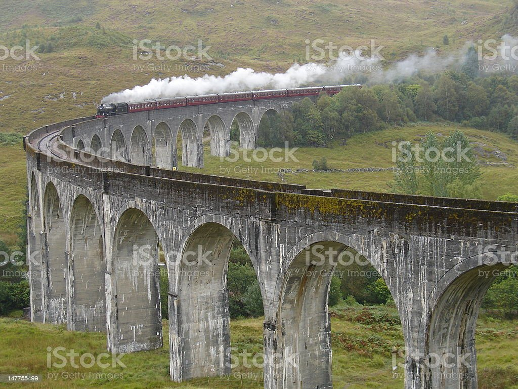 Train Jacobite on Glenfinnan viaduct. royalty-free stock photo