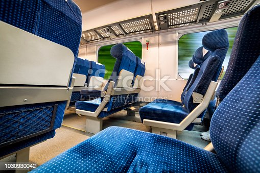 Train journey in the interior of a modern compartment
