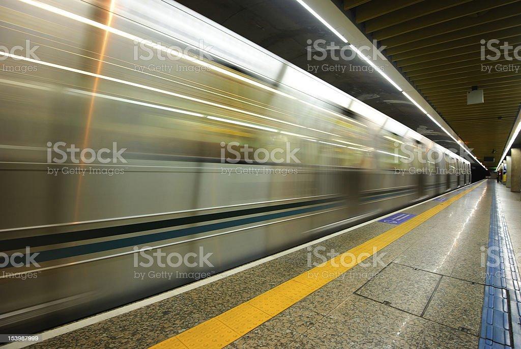 Train leaving empty subway station in Sao Paulo, Brazil. royalty-free stock photo