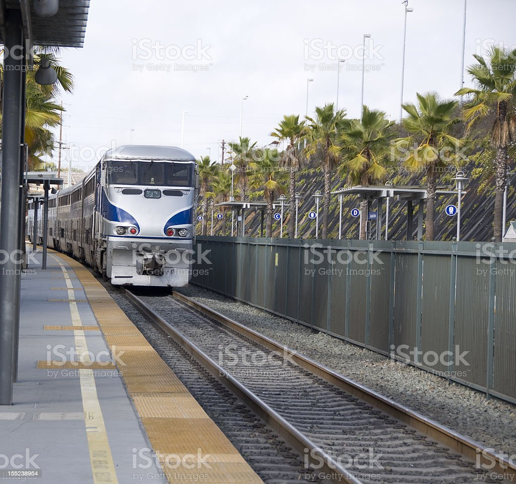 Train leaving/ entering station royalty-free stock photo