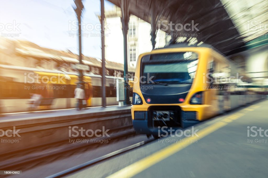 Train leaving from the central railway station royalty-free stock photo