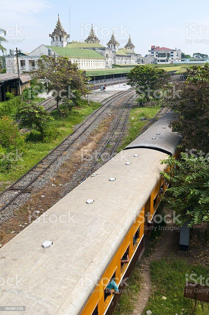 Train leaving station in Yangon royalty-free stock photo