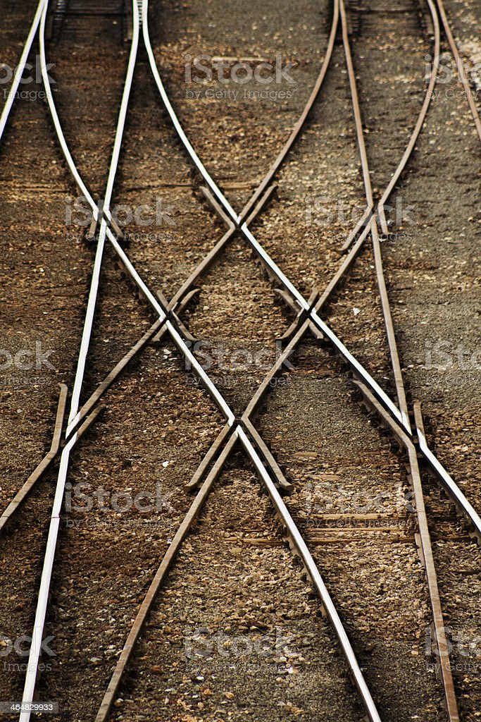 Train line crossing stock photo