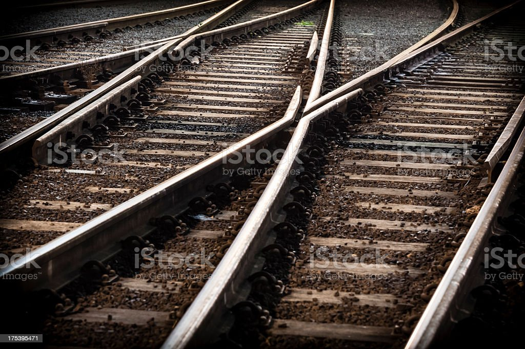Train line crossing with cross overs stock photo