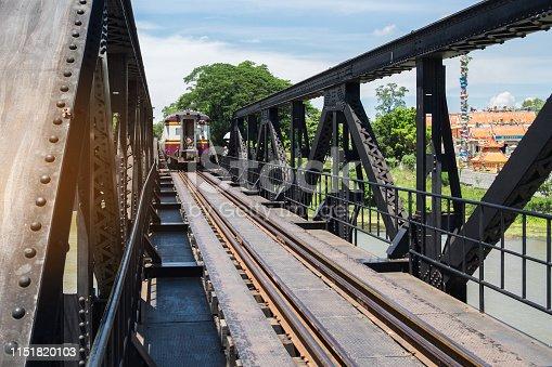 train moving on the railway bridge over the river Kwai in Kanchanaburi, Thailand. history landmark and popular for tourist attractions. Kanchanaburi, Thailand, 20 May 2018