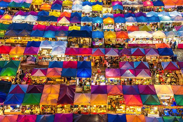 Train night market in Bangkok Colorful market in Ratchadapisek Bangkok night market stock pictures, royalty-free photos & images