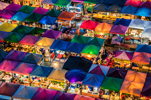 istock Train night market in Bangkok 528958374