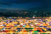 Illuminated Train night market in Bangkok