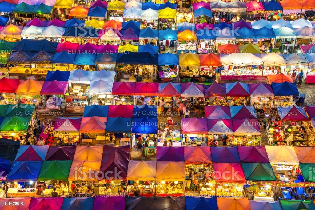 Train night market in Bangkok stock photo