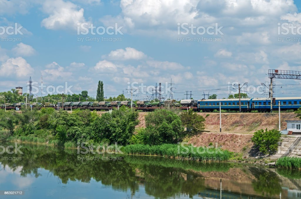 Train of armed forces stock photo