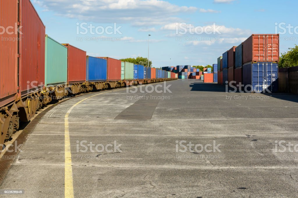 A train of containers parked in a shipping yard on the river Marne in the inner suburbs of Paris stock photo