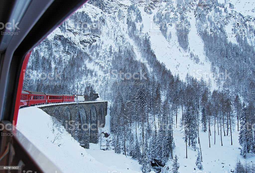 Train of the Reathian Railway on the Albula line stock photo
