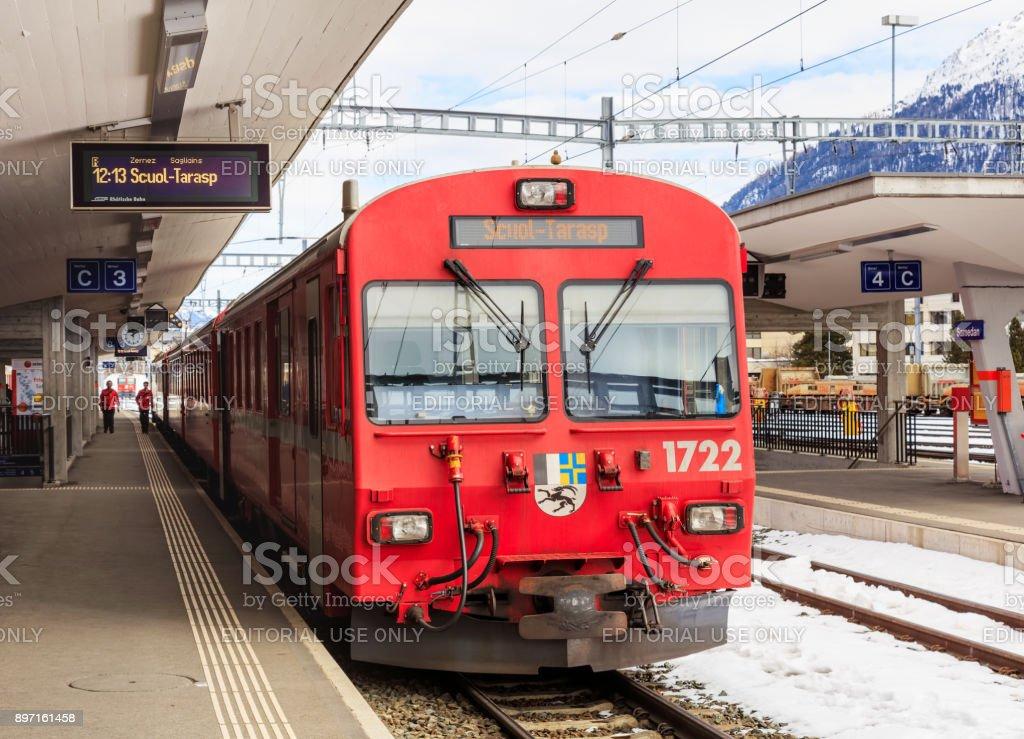 Train of the Rhaetian Railway at the Samedan railway station stock photo