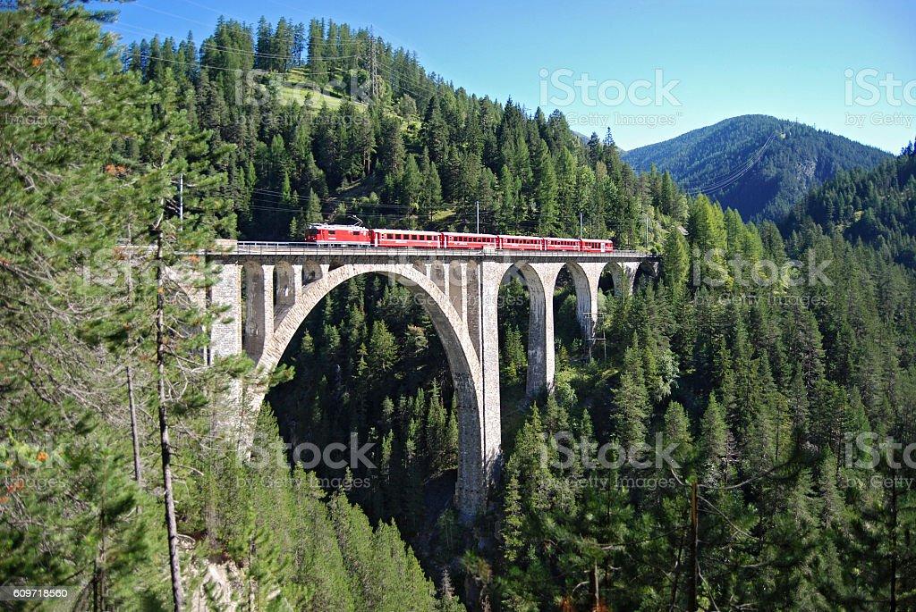 Train of the Rhaetian Railway stock photo