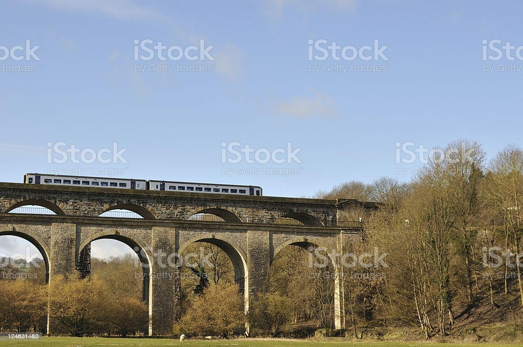 Train on a Viaduct stock photo