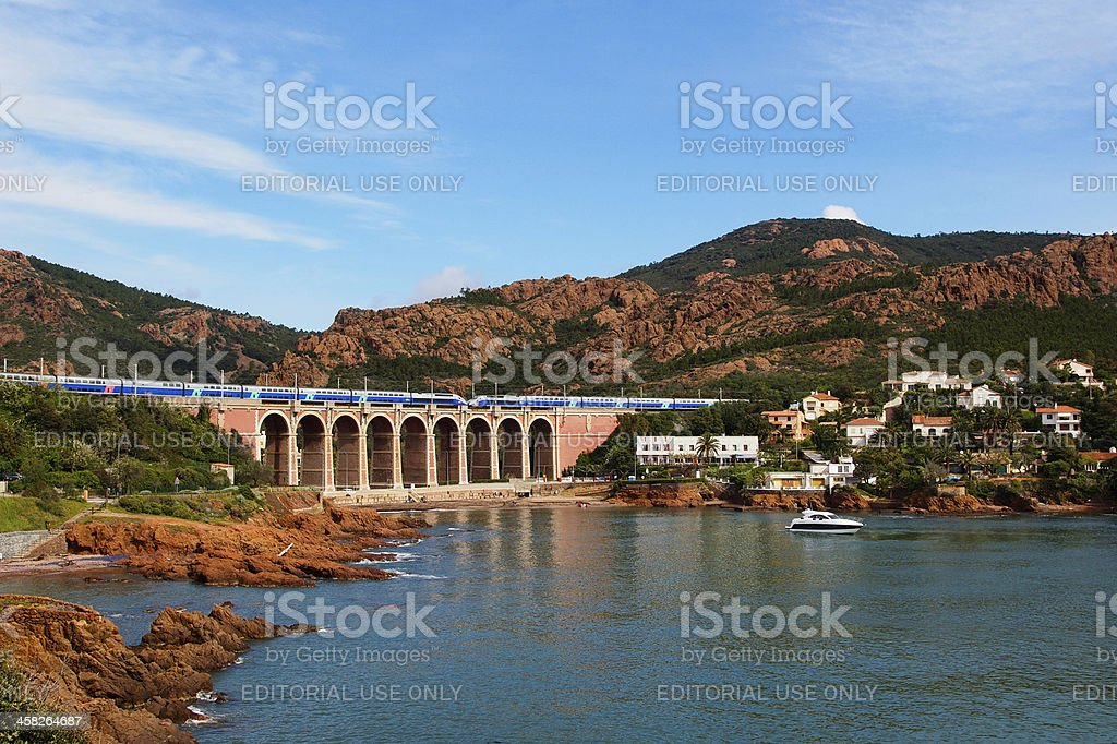 TGV train on a viaduct stock photo