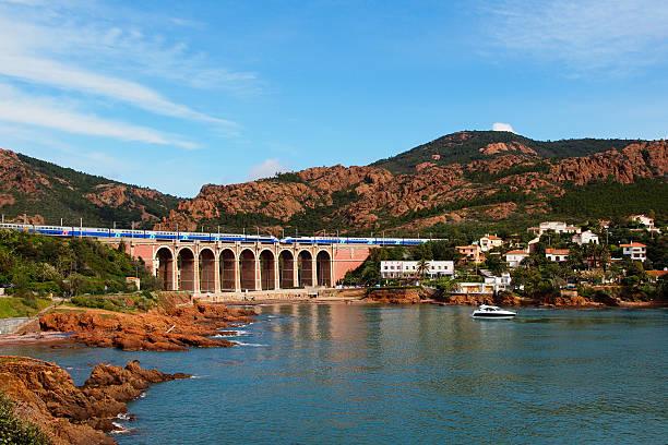 TGV train on a viaduct stock photo