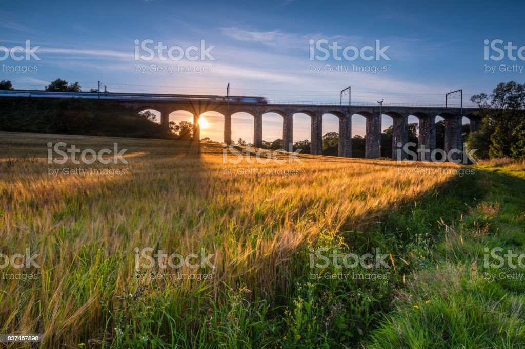 Train on River Aln Viaduct stock photo