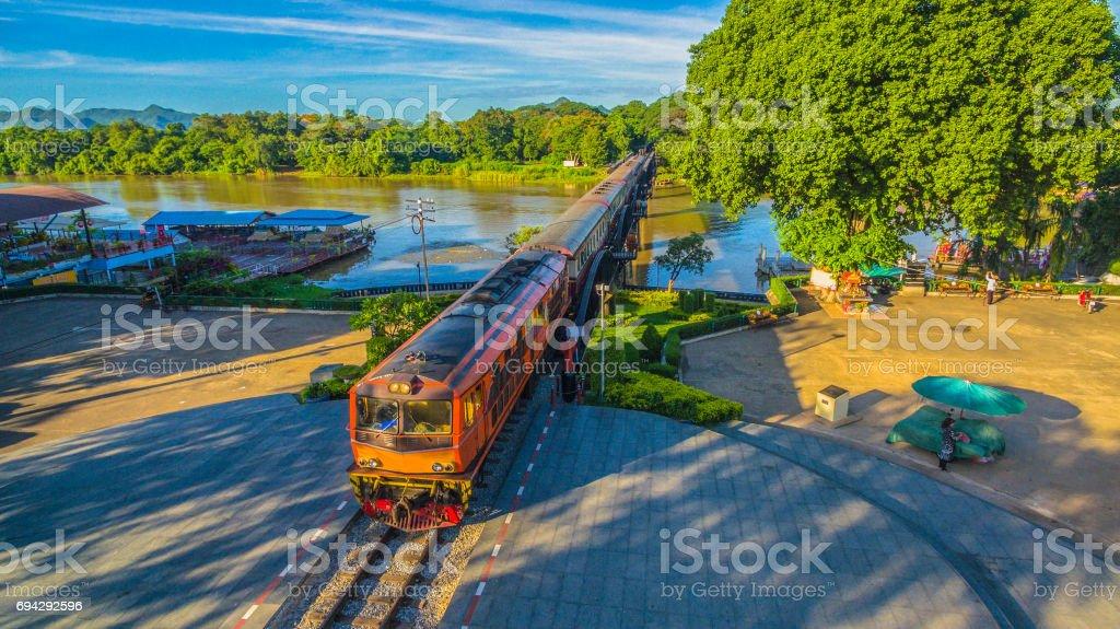 train on river Kwai bridge stock photo