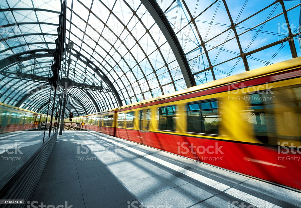 Train on Station in Berlin stock photo