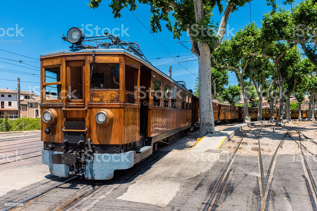 Train on Station in Soller Mallorca stock photo