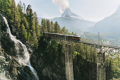 Scenic view of train on the background of Matterhorn mountain
