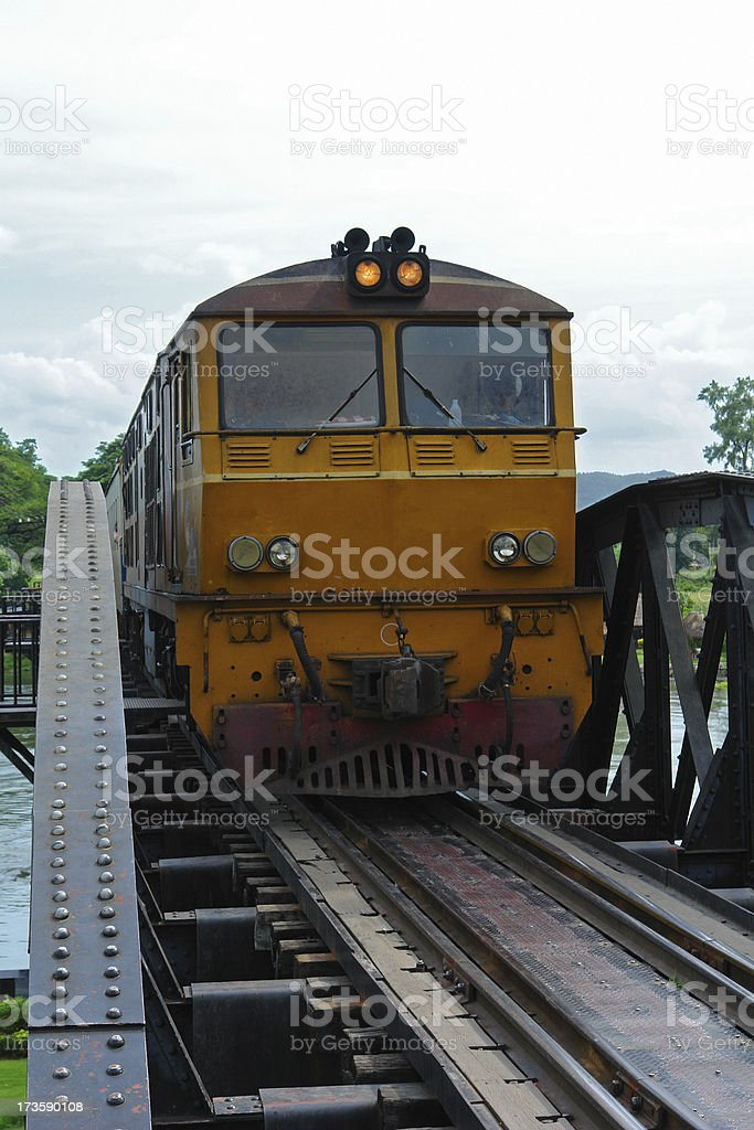 Train on the Bridge over River of Kwai royalty-free stock photo