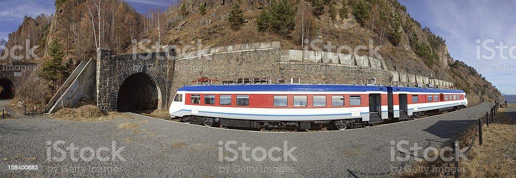 train on the circum-Baikal railway royalty-free stock photo
