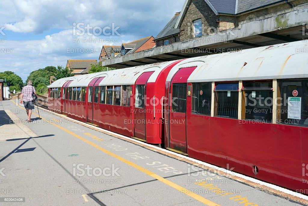 Train on the Island Line heritage railway on the Isle of Wight. stock photo