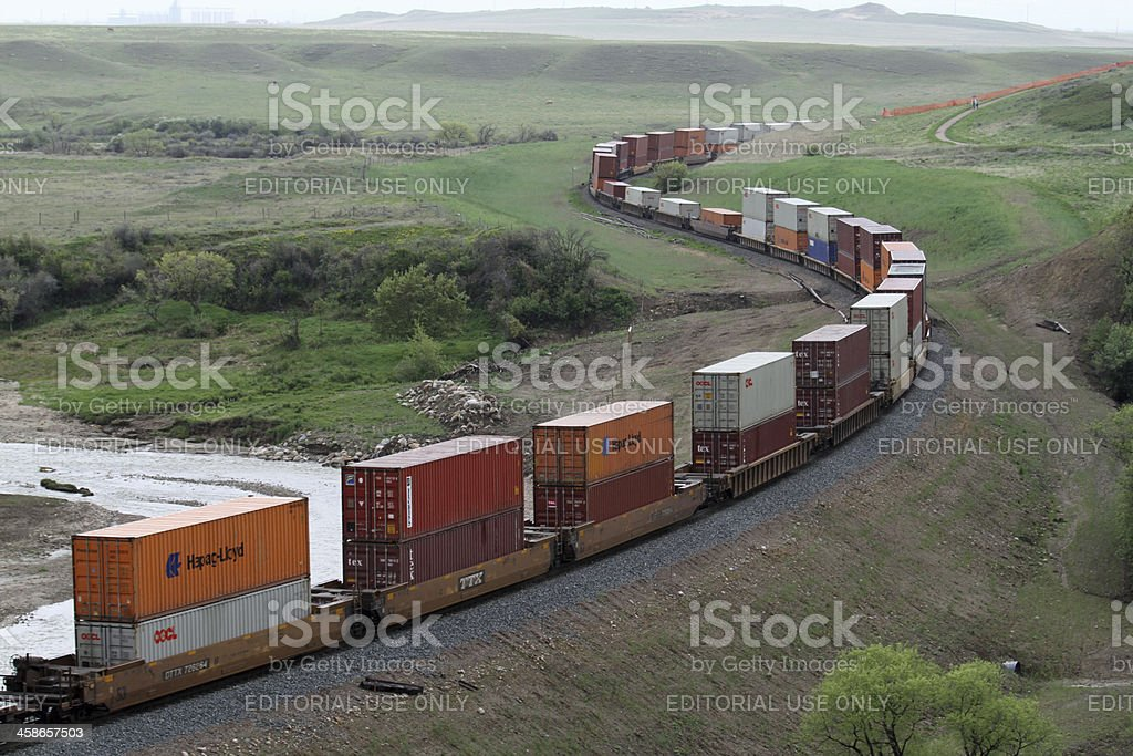 Train on the Prairie. stock photo
