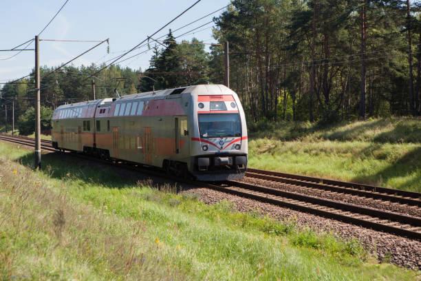 Train on the Vilnius - Kaunas Railway stock photo