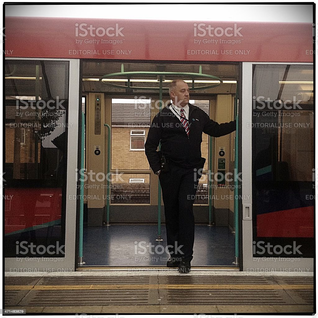 Train operator on the London Docklands Light Railway stock photo