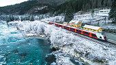 Train Oslo - Bergen in mountains. Hordaland, Norway.