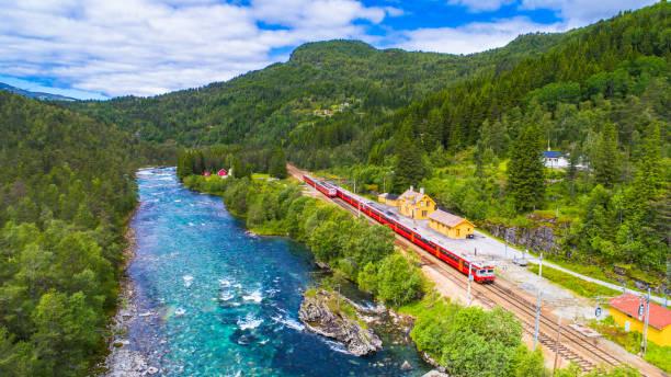 Le train Oslo - Bergen en montagnes. Norvège. - Photo