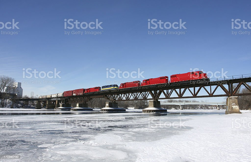 Train over the river royalty-free stock photo