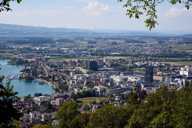 Zug Panorama Panoramic view over the beautiful city of Zug in the heart of Switzerland. zug stock pictures, royalty-free photos & images