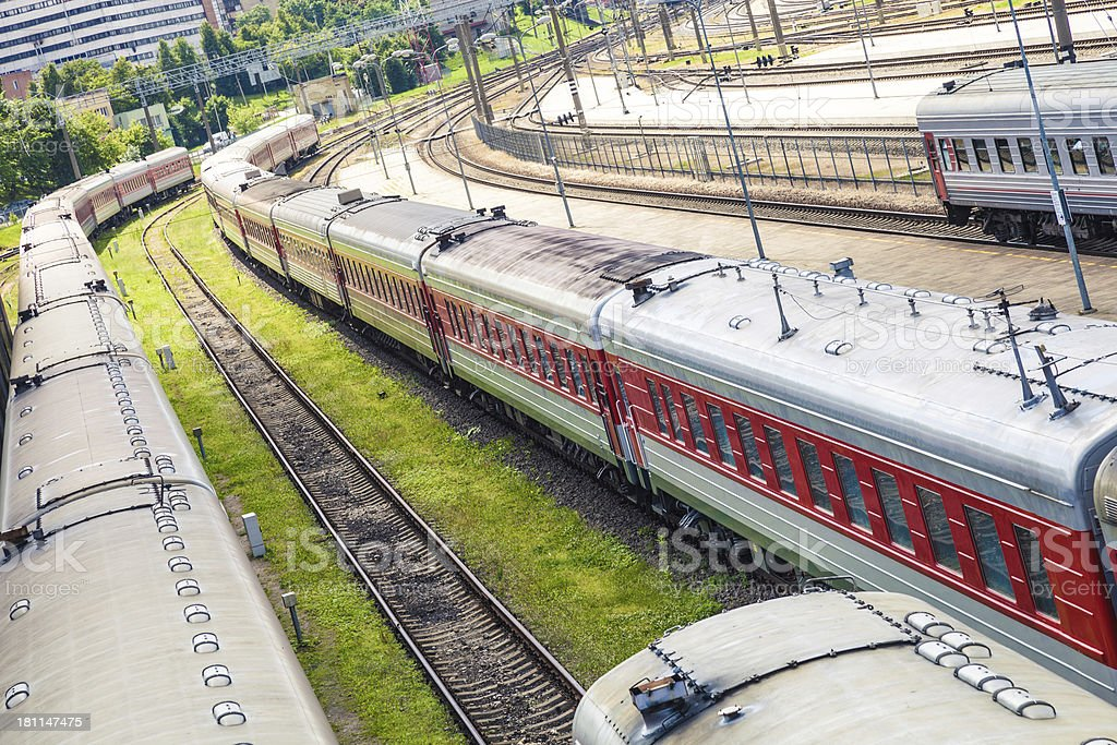 Train parked in the Railway Station royalty-free stock photo