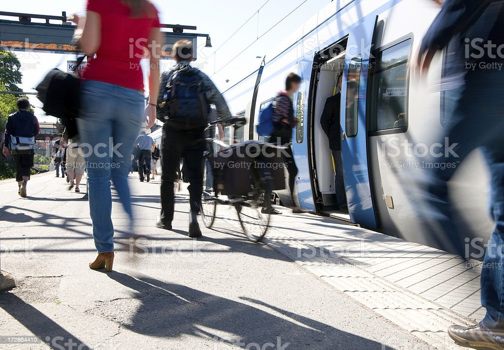 Train passengers entering commuter carriage stock photo