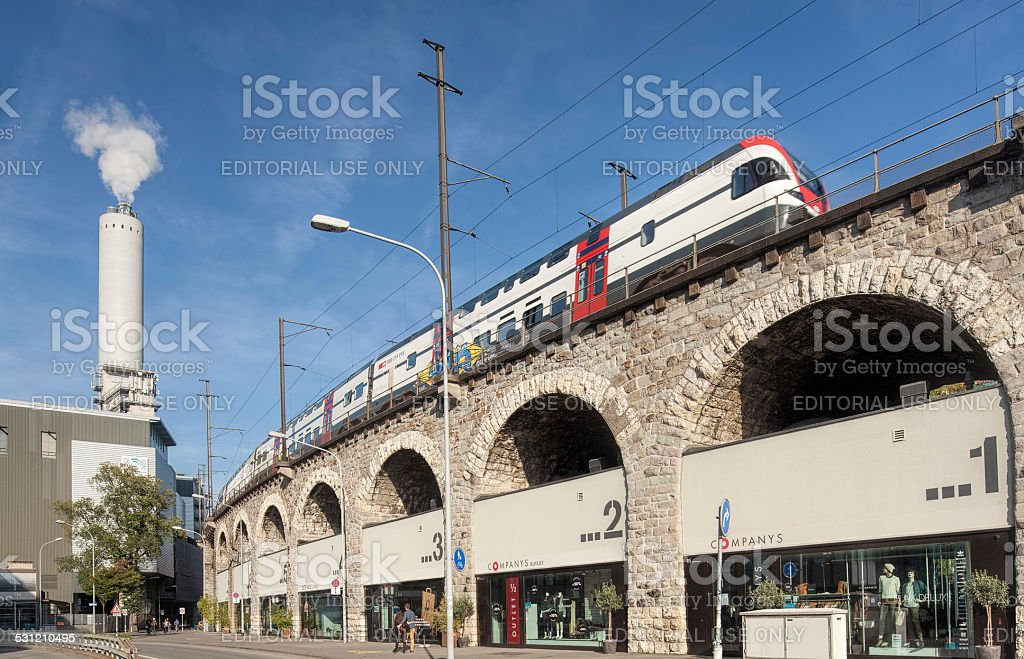 Train passing a viaduct stock photo