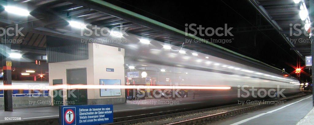 Train passing Geneva station royalty-free stock photo