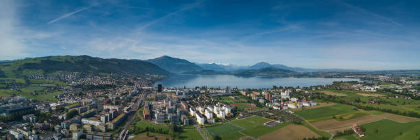 Zug Early morning panorama of Lake Zug zug stock pictures, royalty-free photos & images