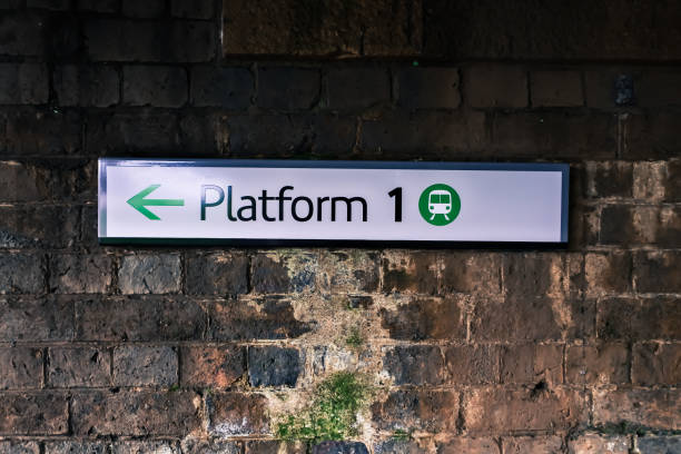 Train platform sign stock photo