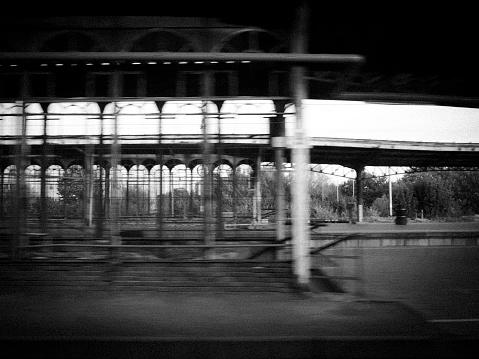 Train platform station railroad tracks derelict abandoned