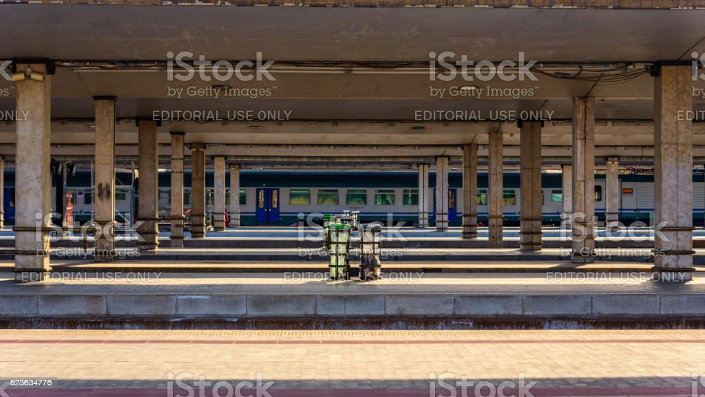 Train platforms stock photo