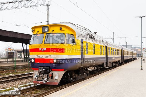 Riga, Latvia - February 1, 2017:  A train prepares to depart Riga Central Station on a winter day.  The station in the capital city of Latvia.